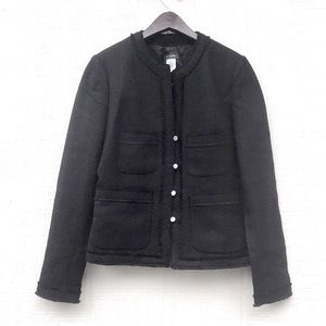 J. Crew tweed black fringe blazer coat jacket
